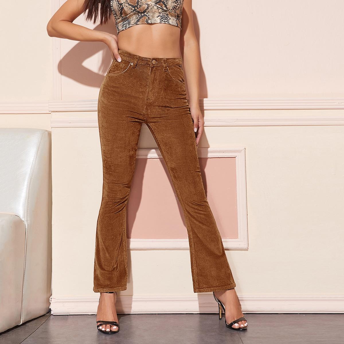 Вельветовые расклешенные брюки с высокой талией без пояса