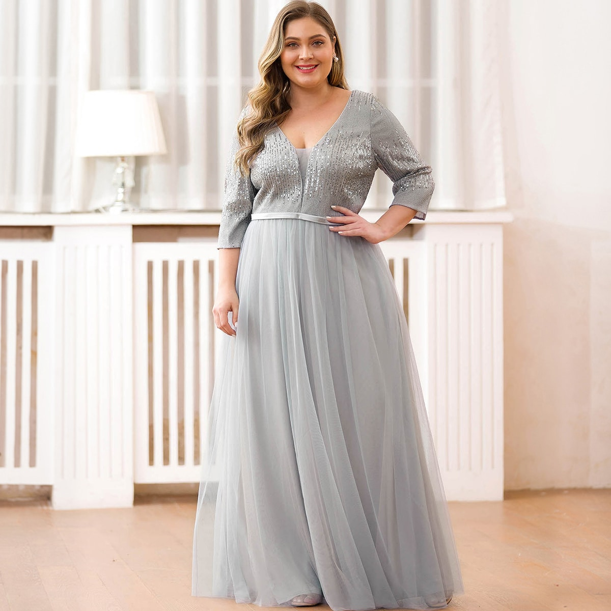 Plus Sequin Bodice Mesh Prom Maxi Dress