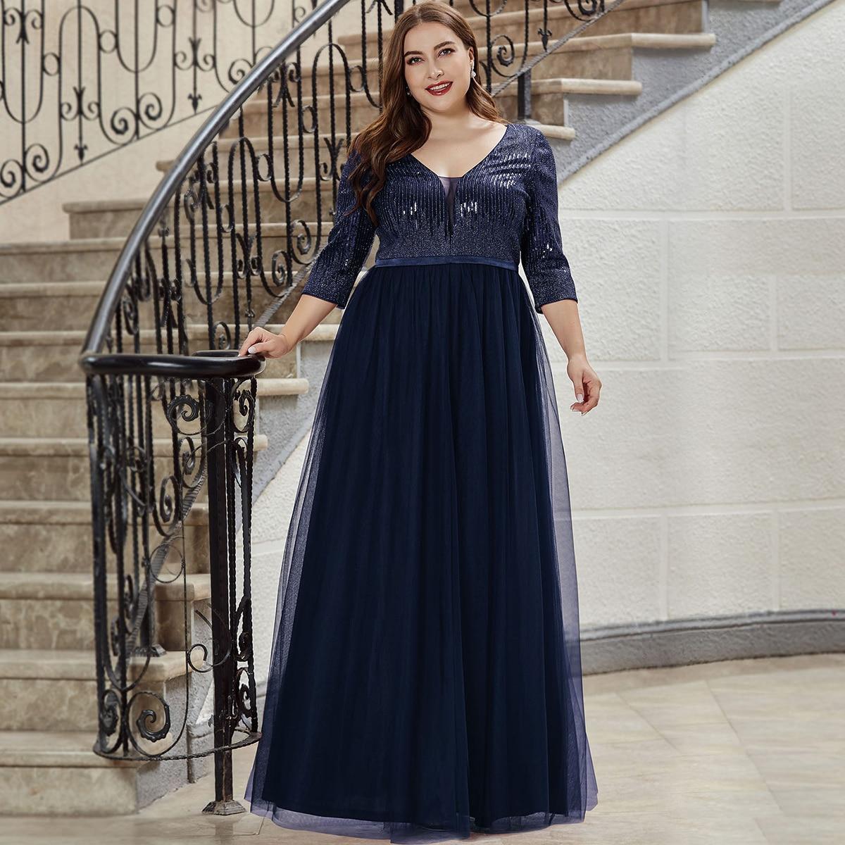 Блестящее сетчатое платье макси размера плюс