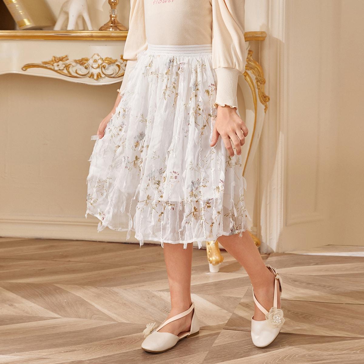 Жаккардовая шифоновая юбка для девочек