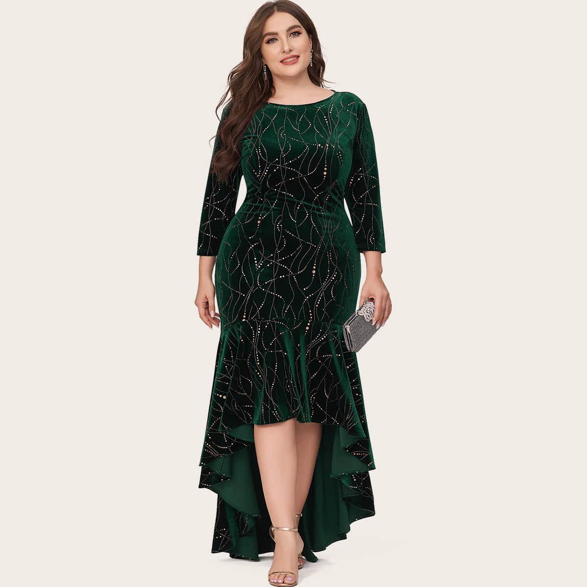 Асимметричное бархатное платье размера плюс с геометрическим принтом