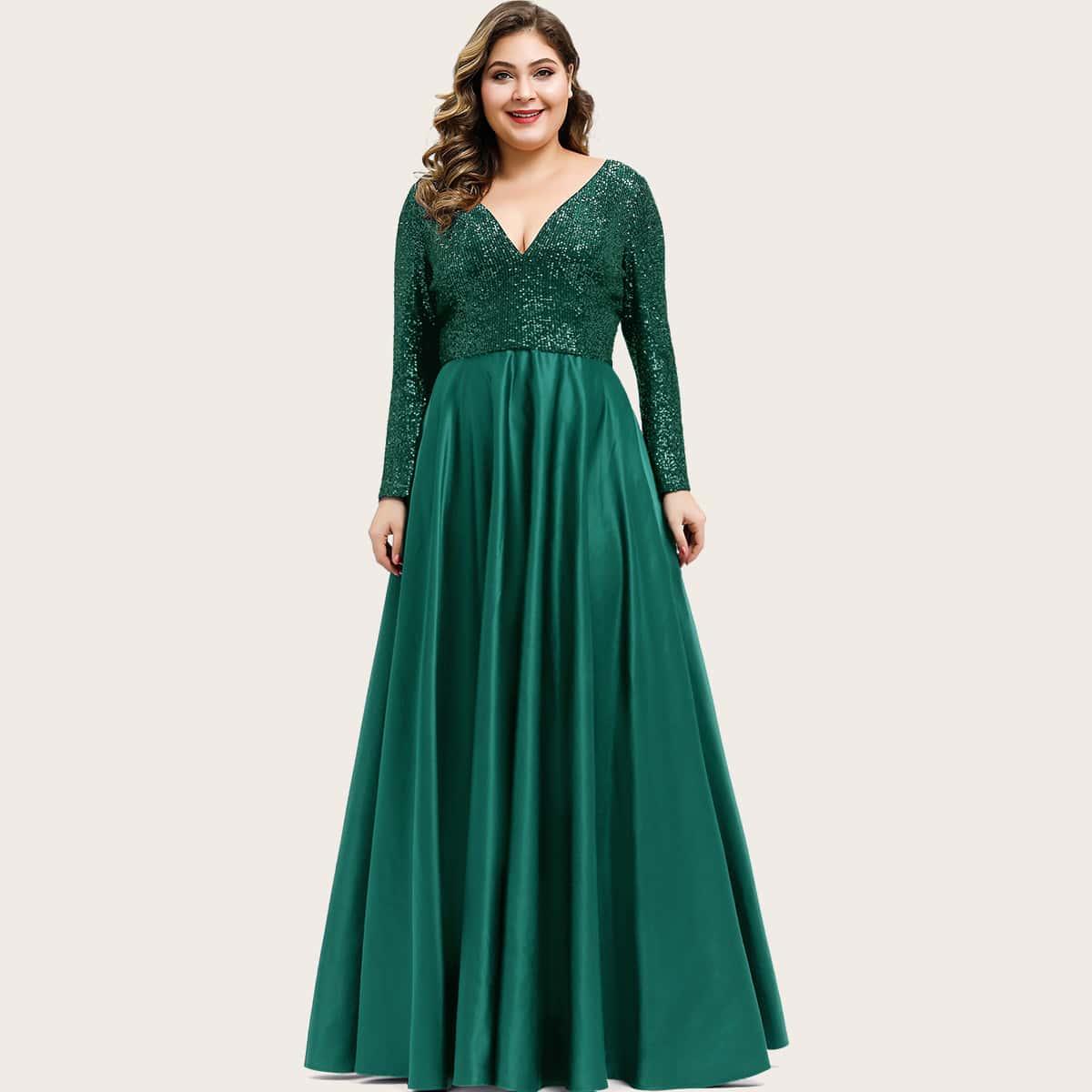 Plus Sequin Bodice Satin Maxi Prom Dress