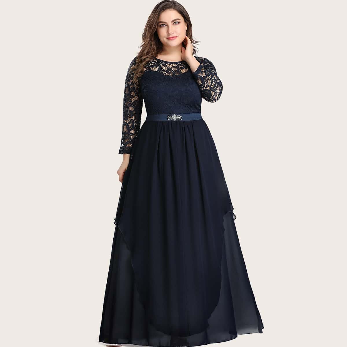 Шифоновое платье размера плюс со стразами и кружевной отделкой