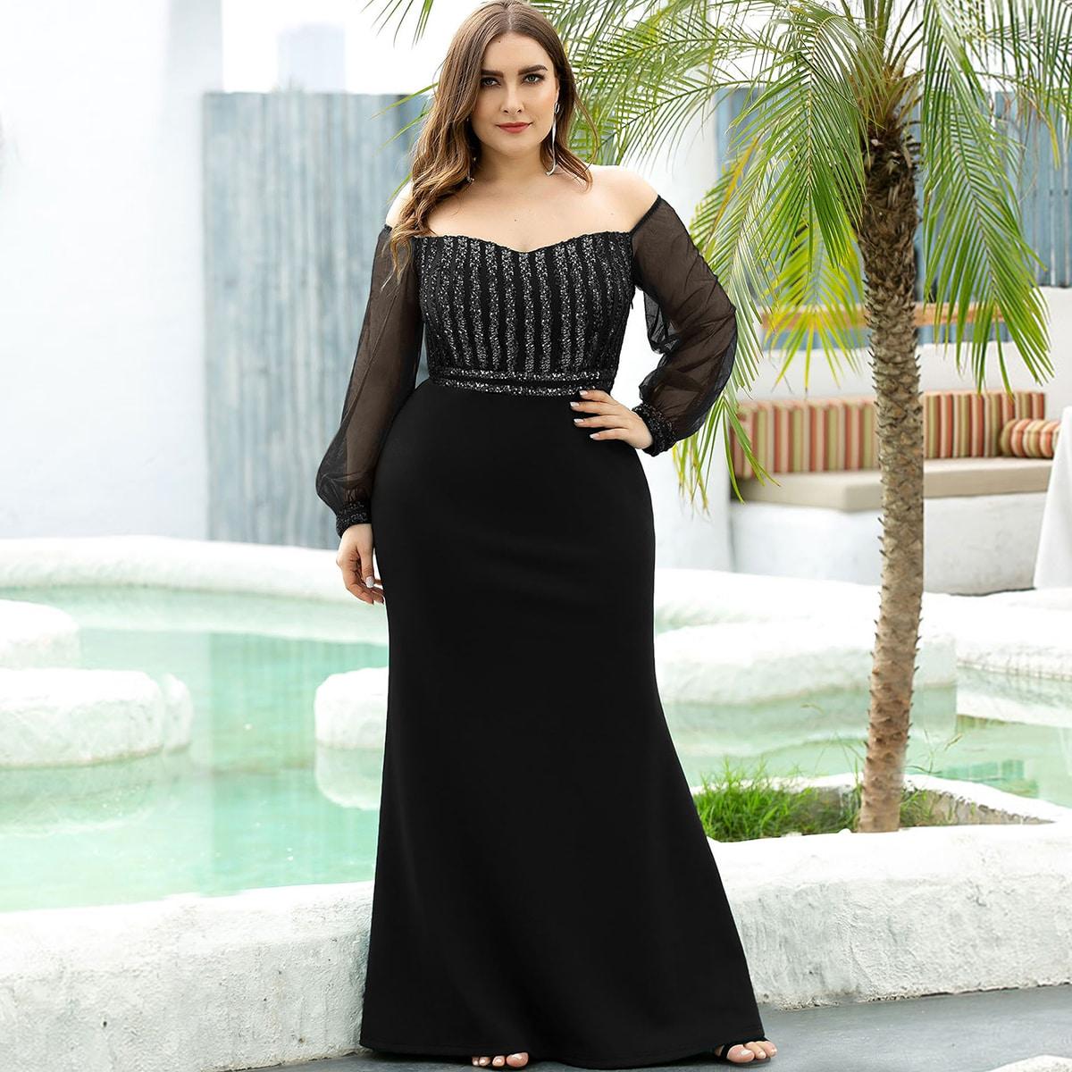 Блестящее платье-русалка размера плюс с прозрачным рукавом
