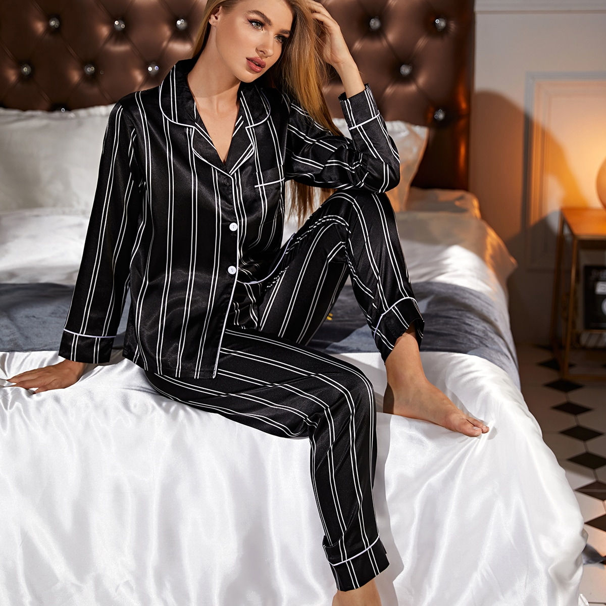 с карманами Полоска Минимализм Ночная пижама