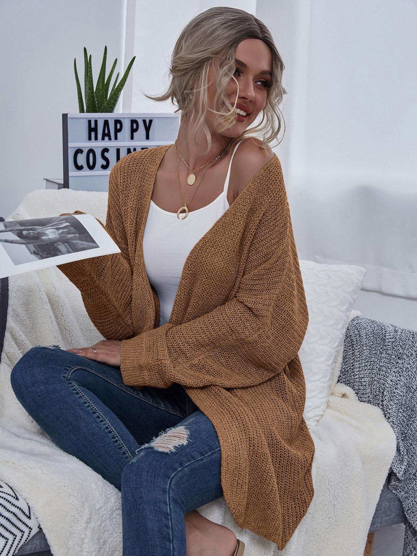 Open Front Batwing Sleeve Cardigan thumbnail