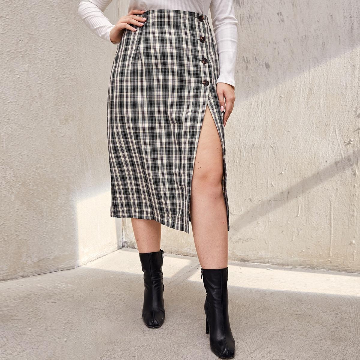 Plus Button Detail Split Hem Plaid Skirt