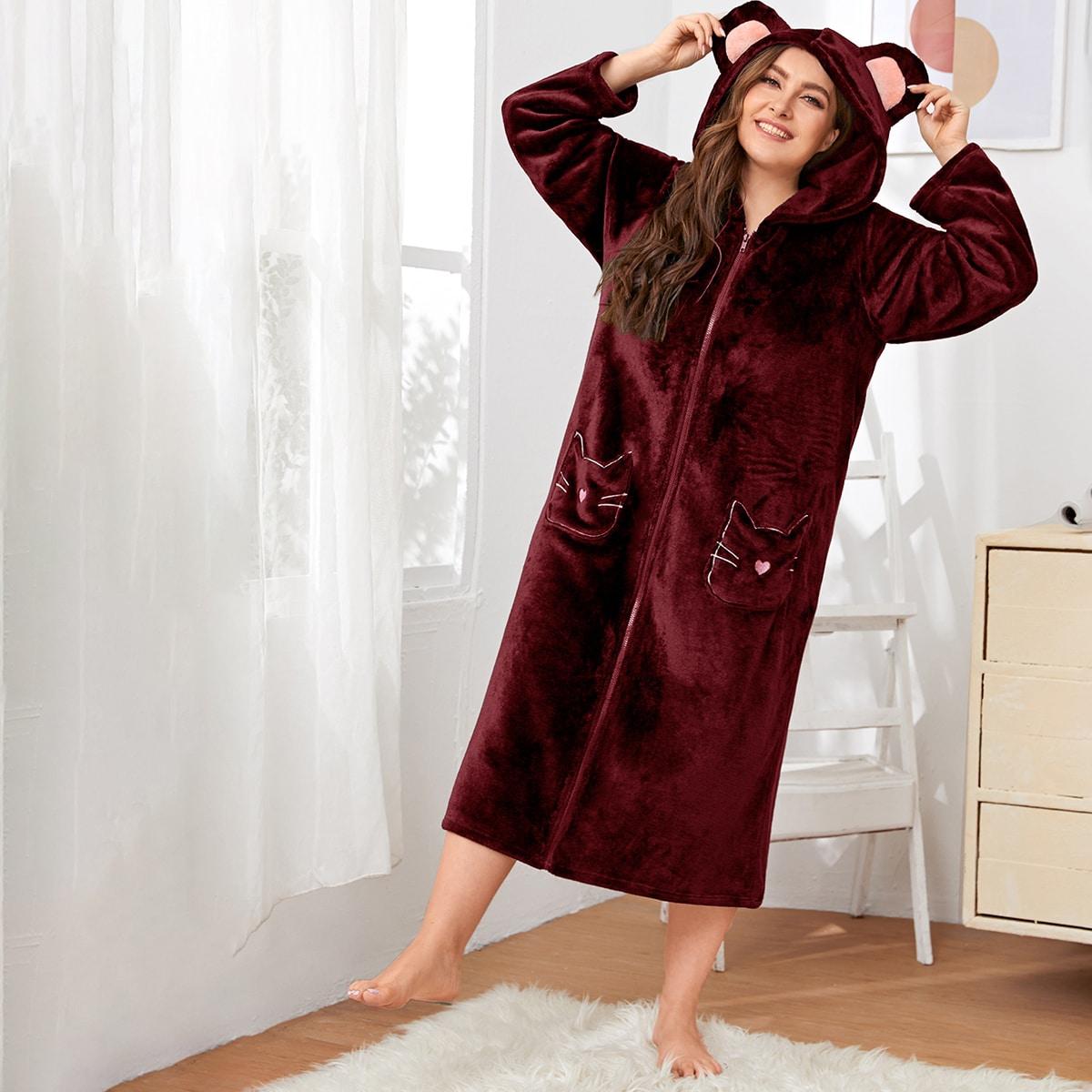 На молнии мультяшный принт милый домашний халат размера плюс