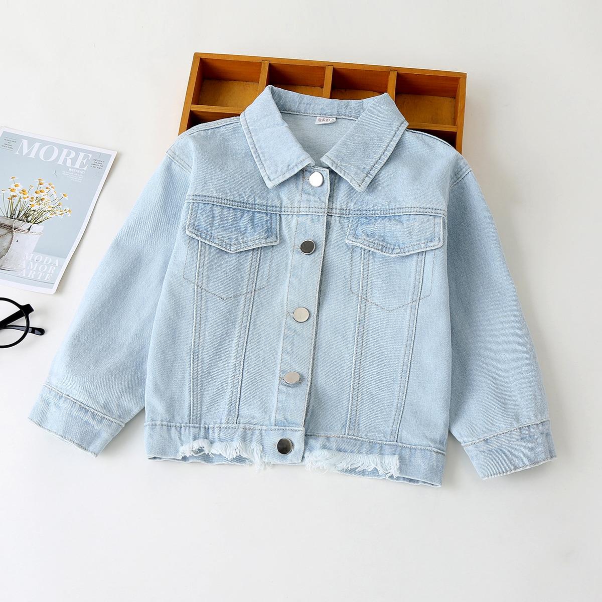 Необработанный низ лозунг повседневный джинсовые куртки & пальто для девочек