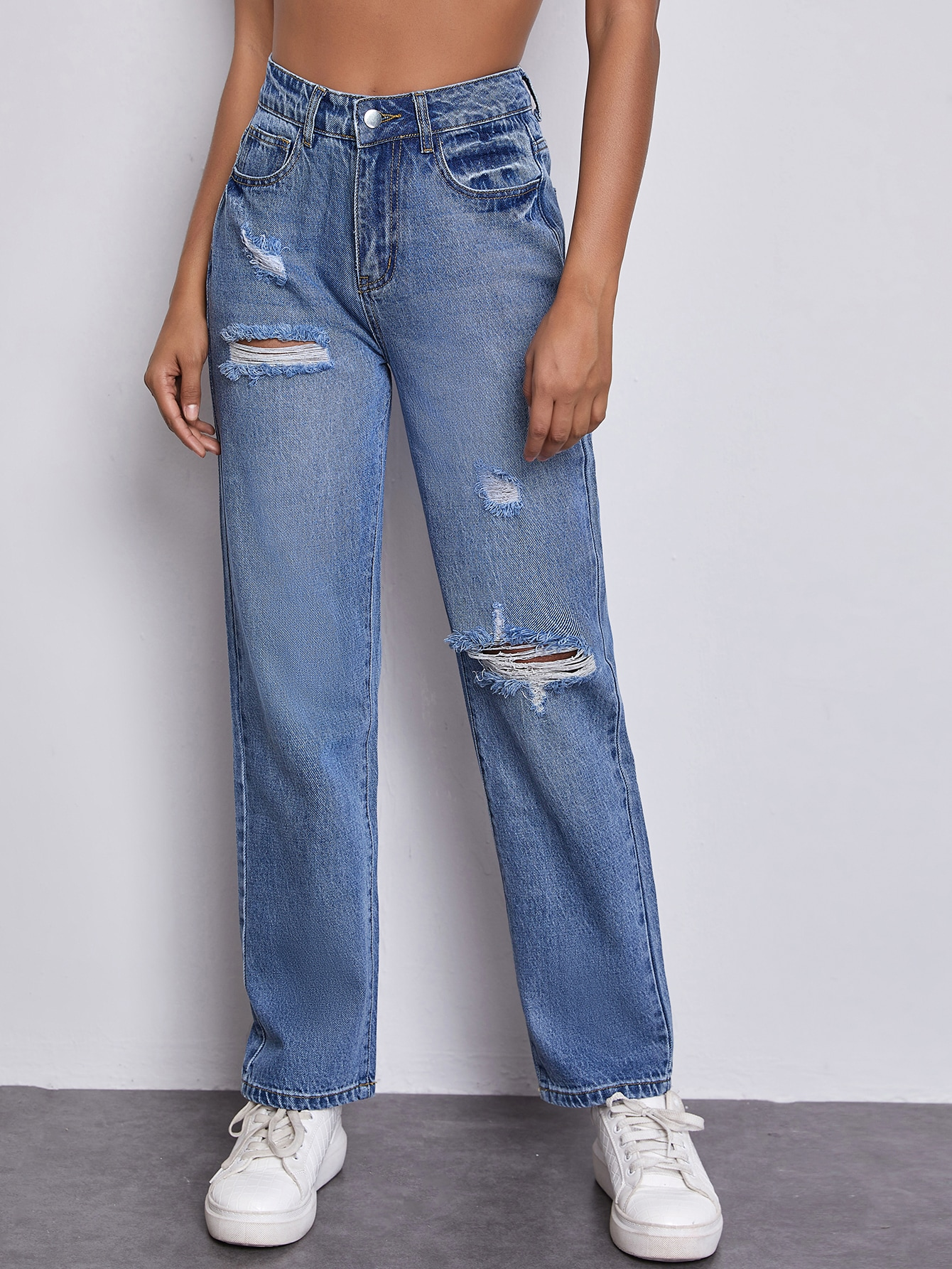 High Waist Ripped Straight Jeans thumbnail