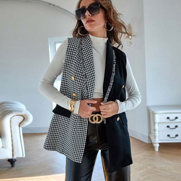Tweed Houndstooth Double Breasted Spliced Blazer Vest, Black and white