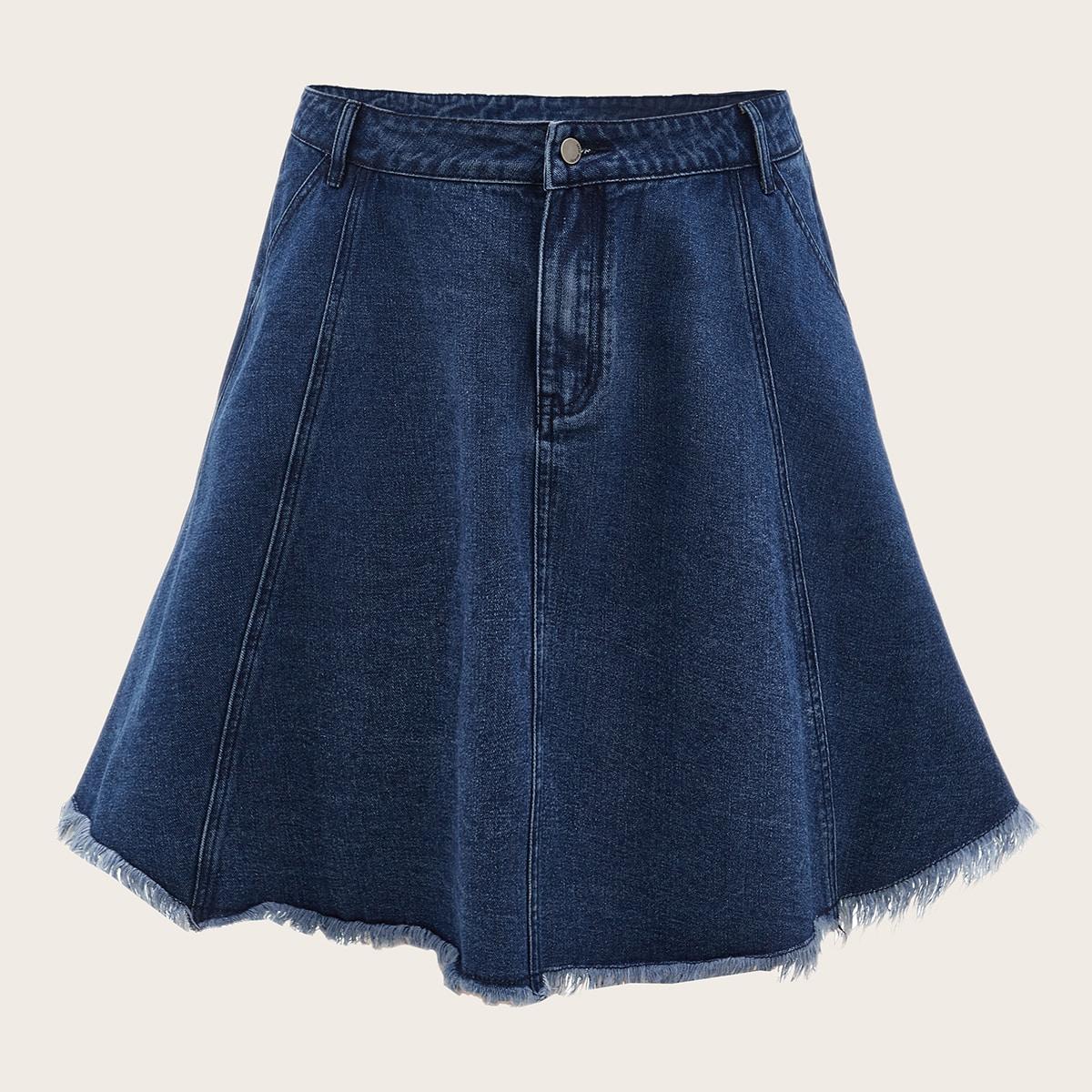 На молнии одноцветный повседневный джинсовые юбки размер плюс