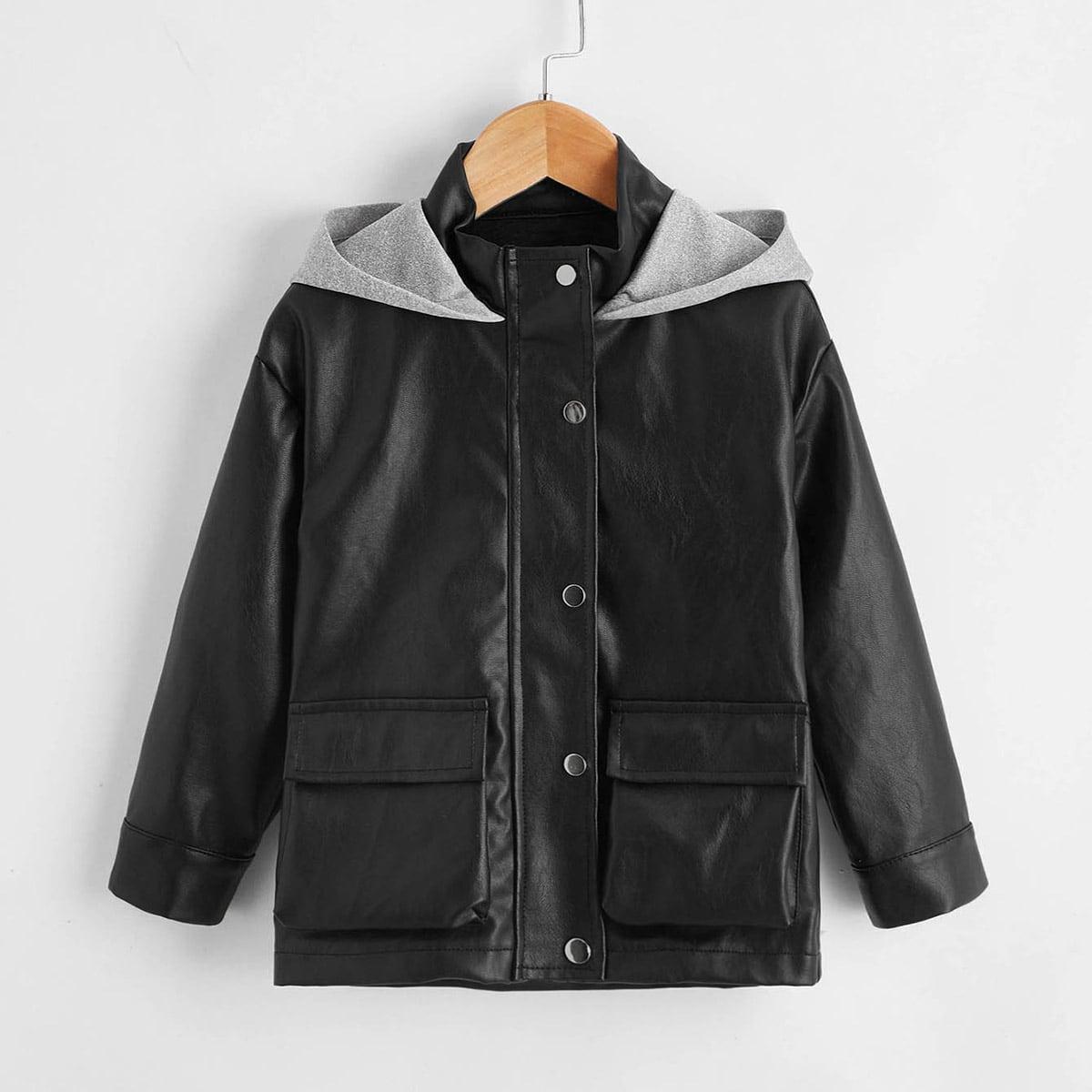 Пальто из искусственной кожи с карманом и капюшоном для мальчиков