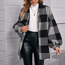 Drop Shoulder Buffalo Plaid Teddy Coat