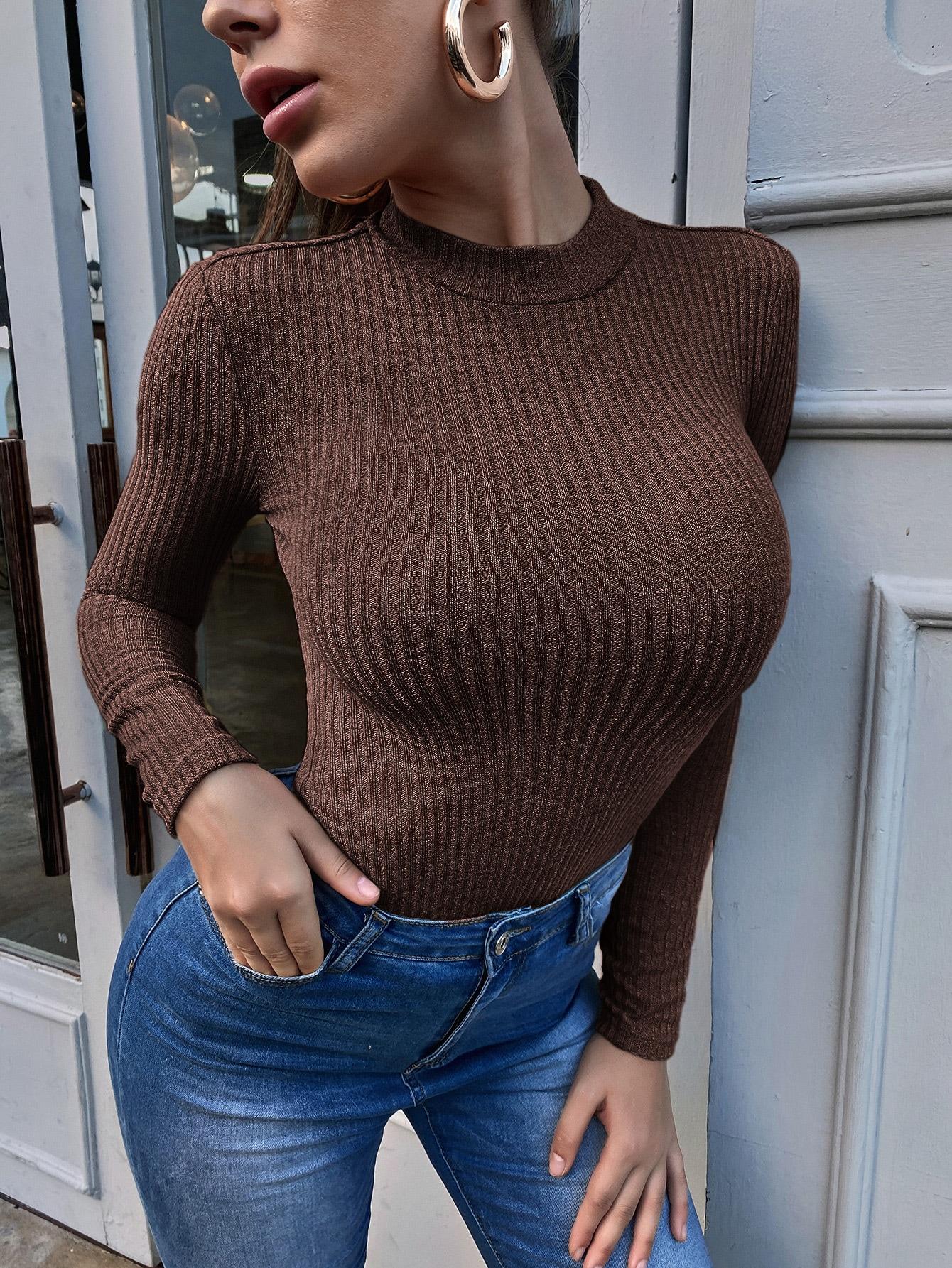 Solid Rib-knit Tee thumbnail