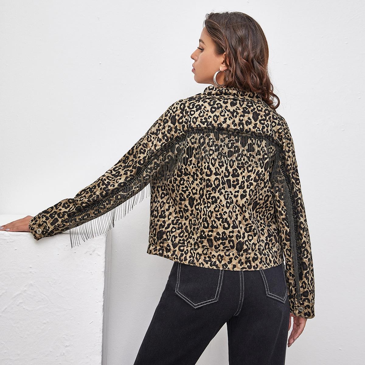 С карманами леопардовый повседневный джинсовые куртки & пальто