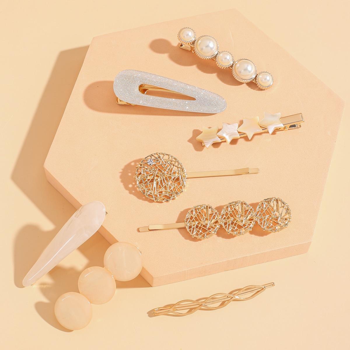 8pcs Faux Pearl Hair Clip