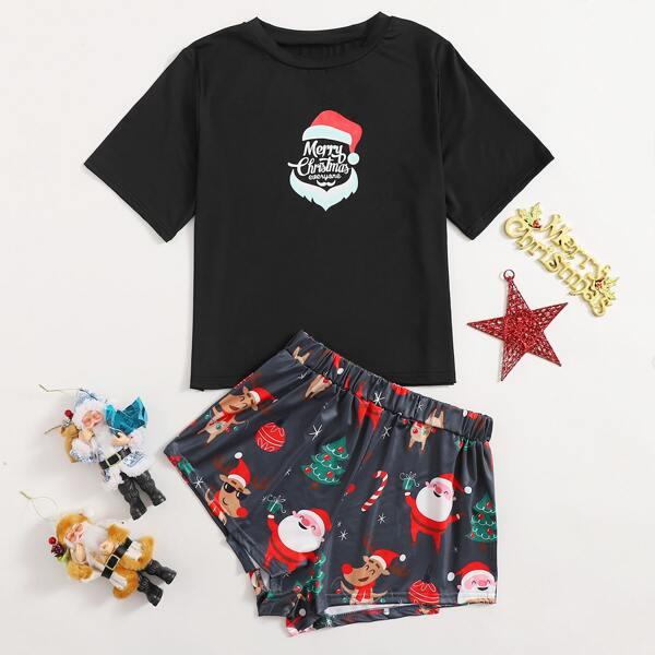Christmas Print Pajama Set, Black