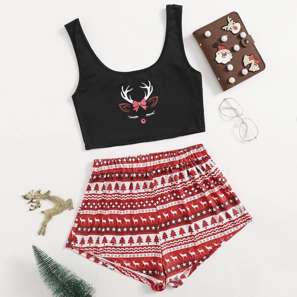 Christmas Print Tank Top & Shorts Pajama Set, Multicolor