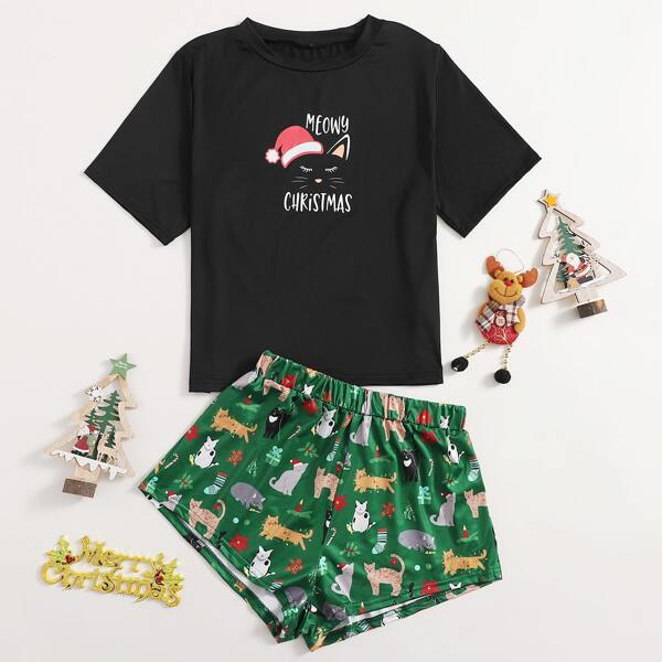 Christmas & Letter Graphic PJ Set, Multicolor