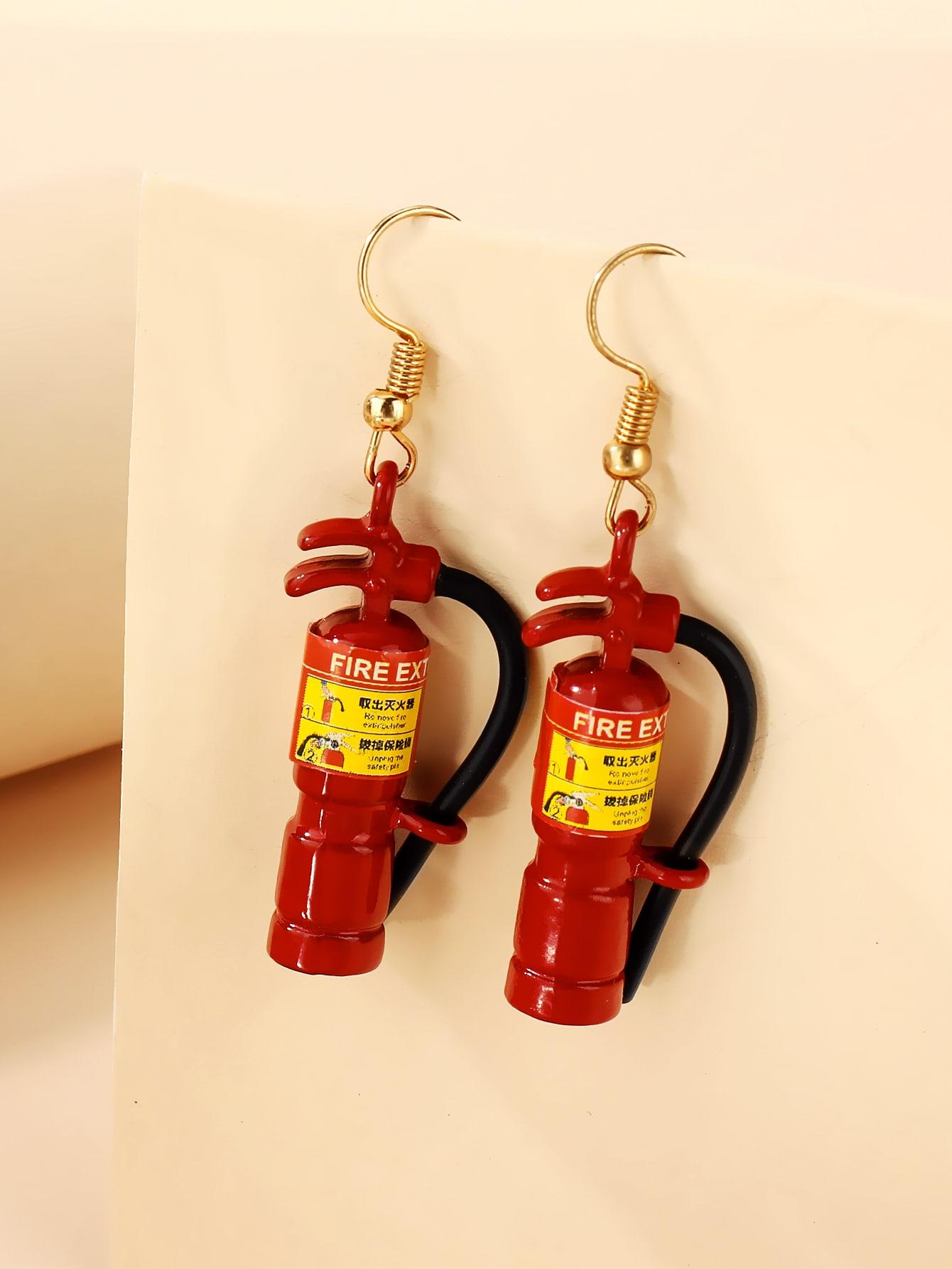 Fire Extinguisher Drop Earrings