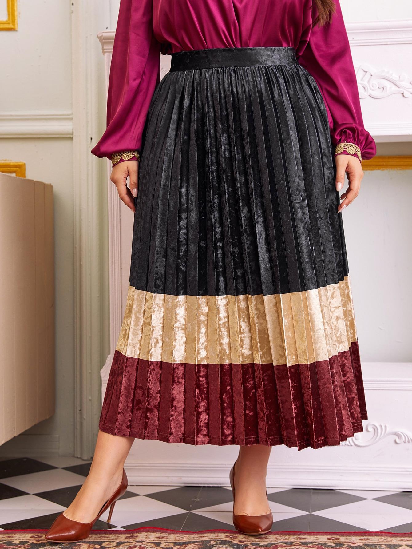 Plus Color Block Velvet Pleated Skirt Without Belt thumbnail