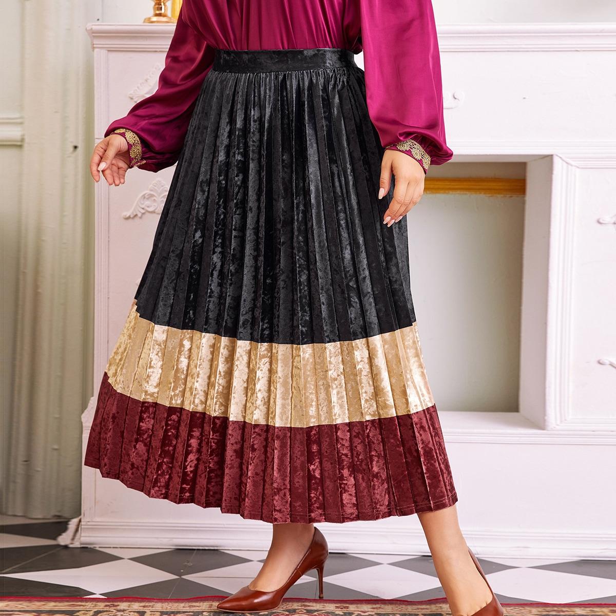 Контрастная бархатная плиссированная юбка размера плюс без пояса