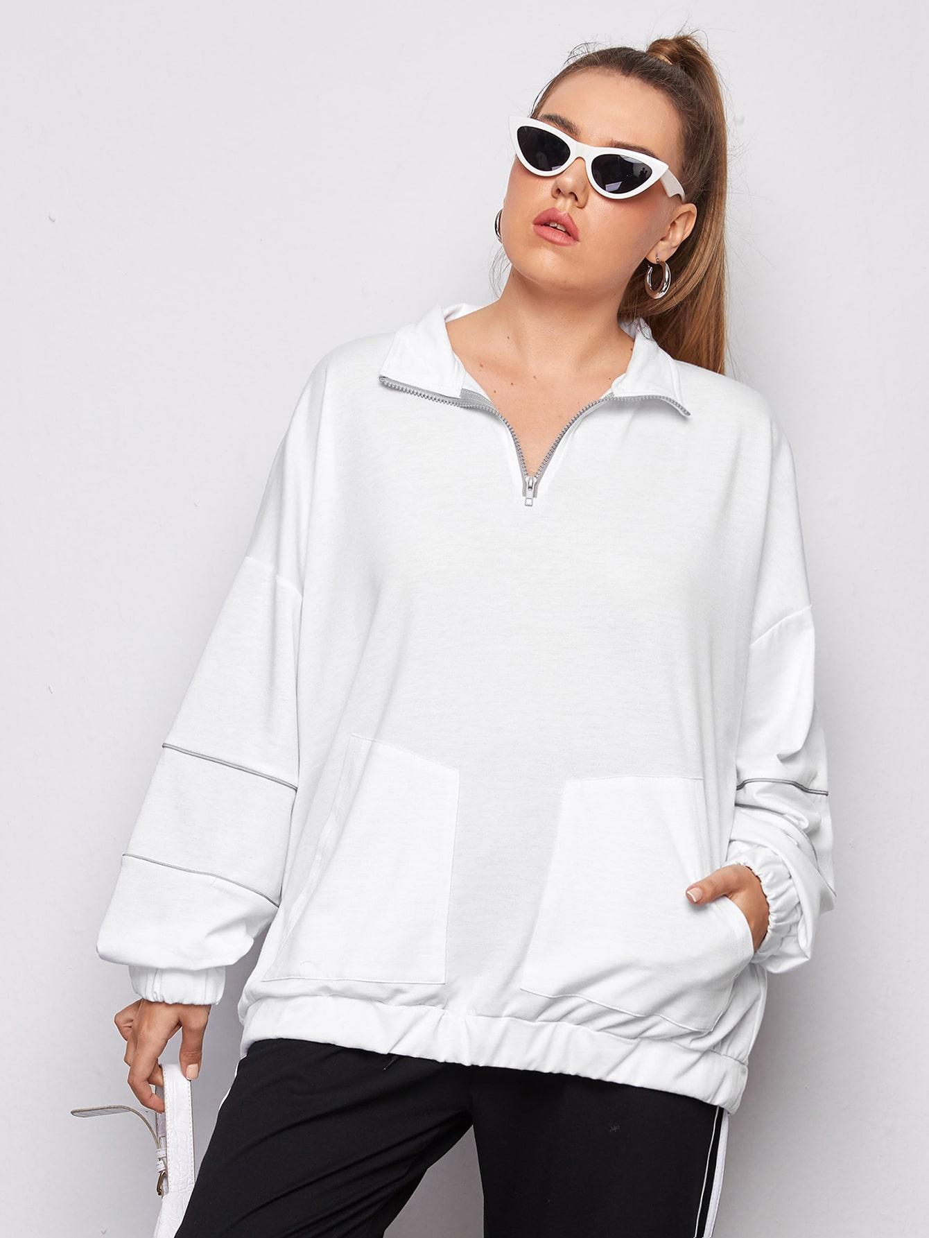 plus half zip drop shoulder sweatshirt