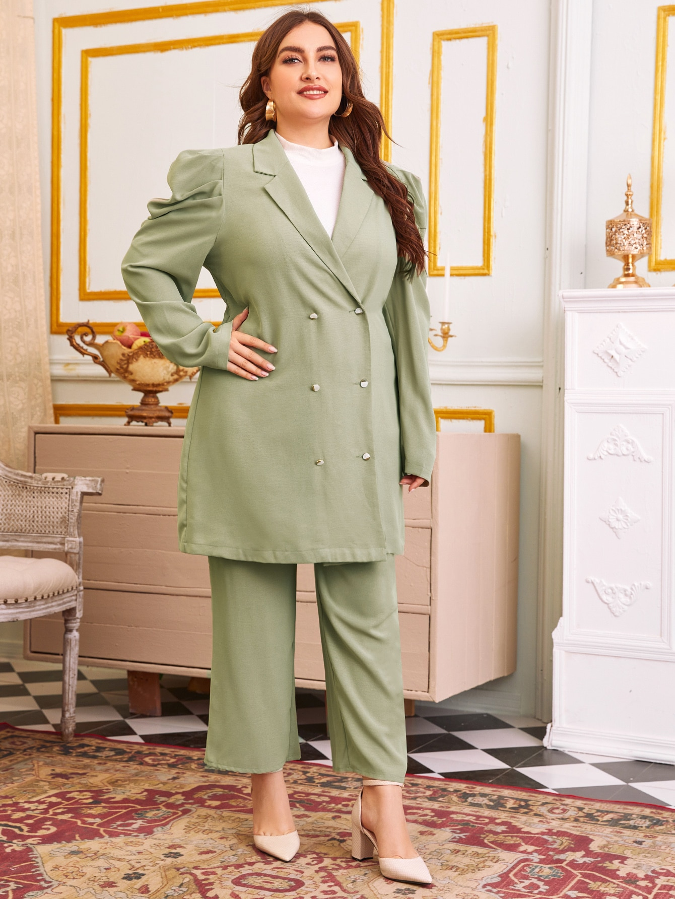 Plus Gigot Sleeve Double Breasted Blazer & Pants Set thumbnail