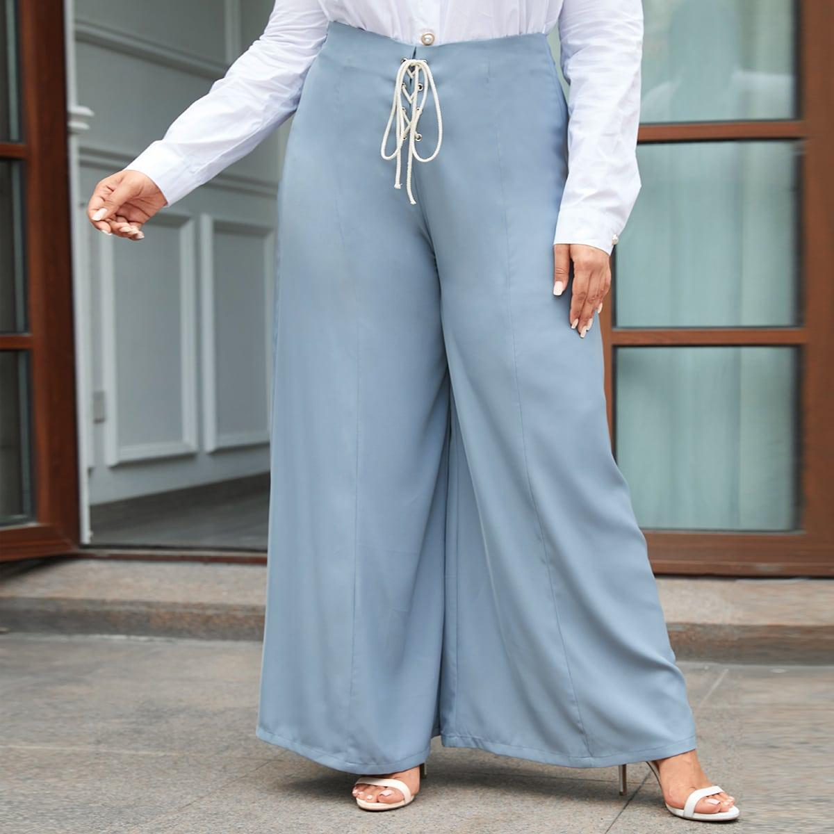 Со шнуровкой одноцветный элегантный брюки размер плюс