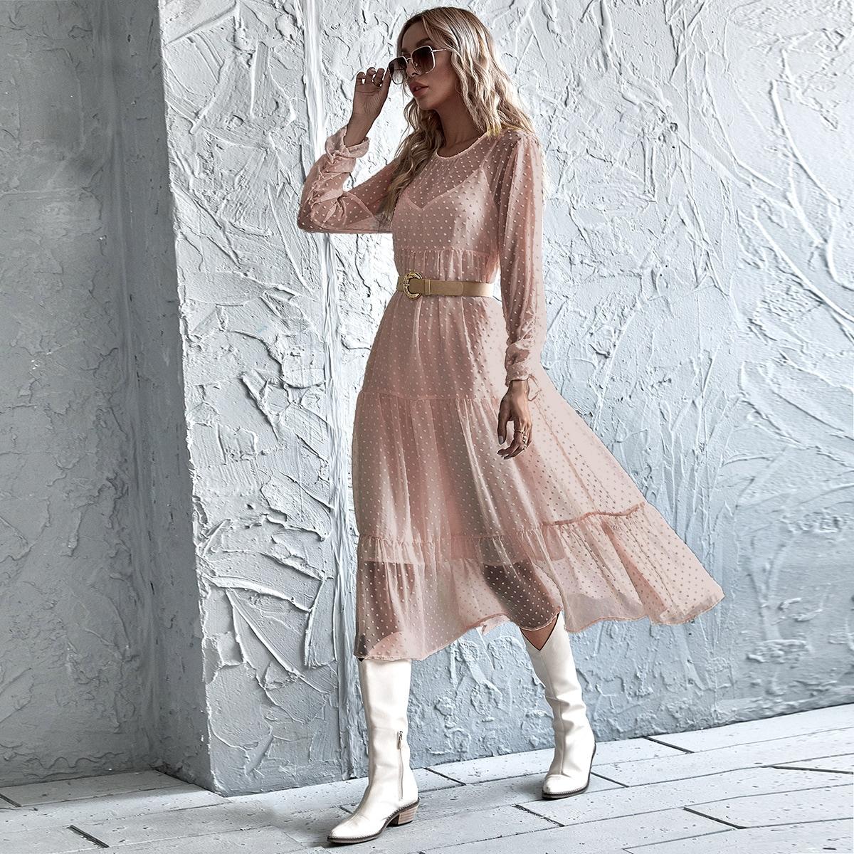 Fond de robe & Robe transparente à volants sans ceinture