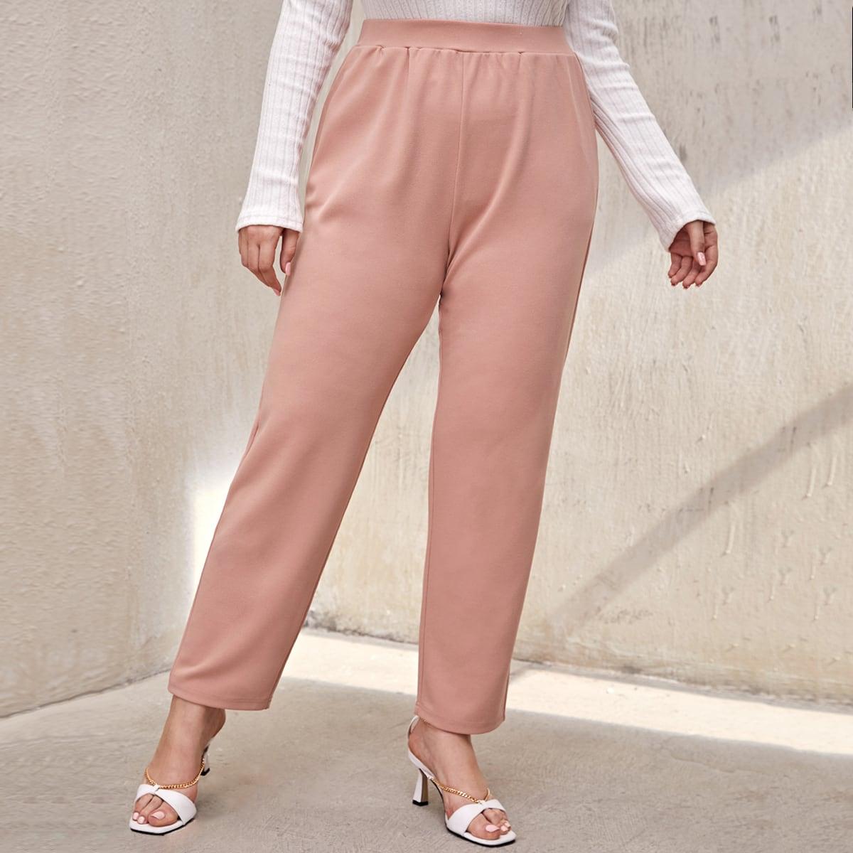 Одноцветный повседневный брюки размер плюс