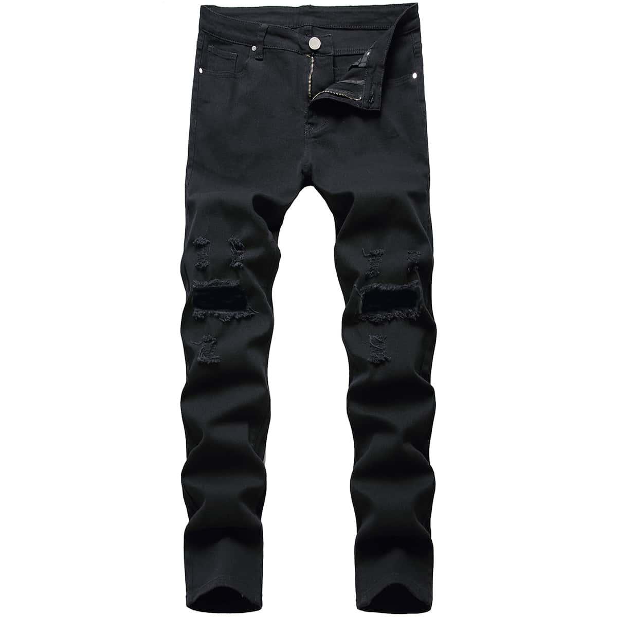 Мужские рваные джинсы скинни
