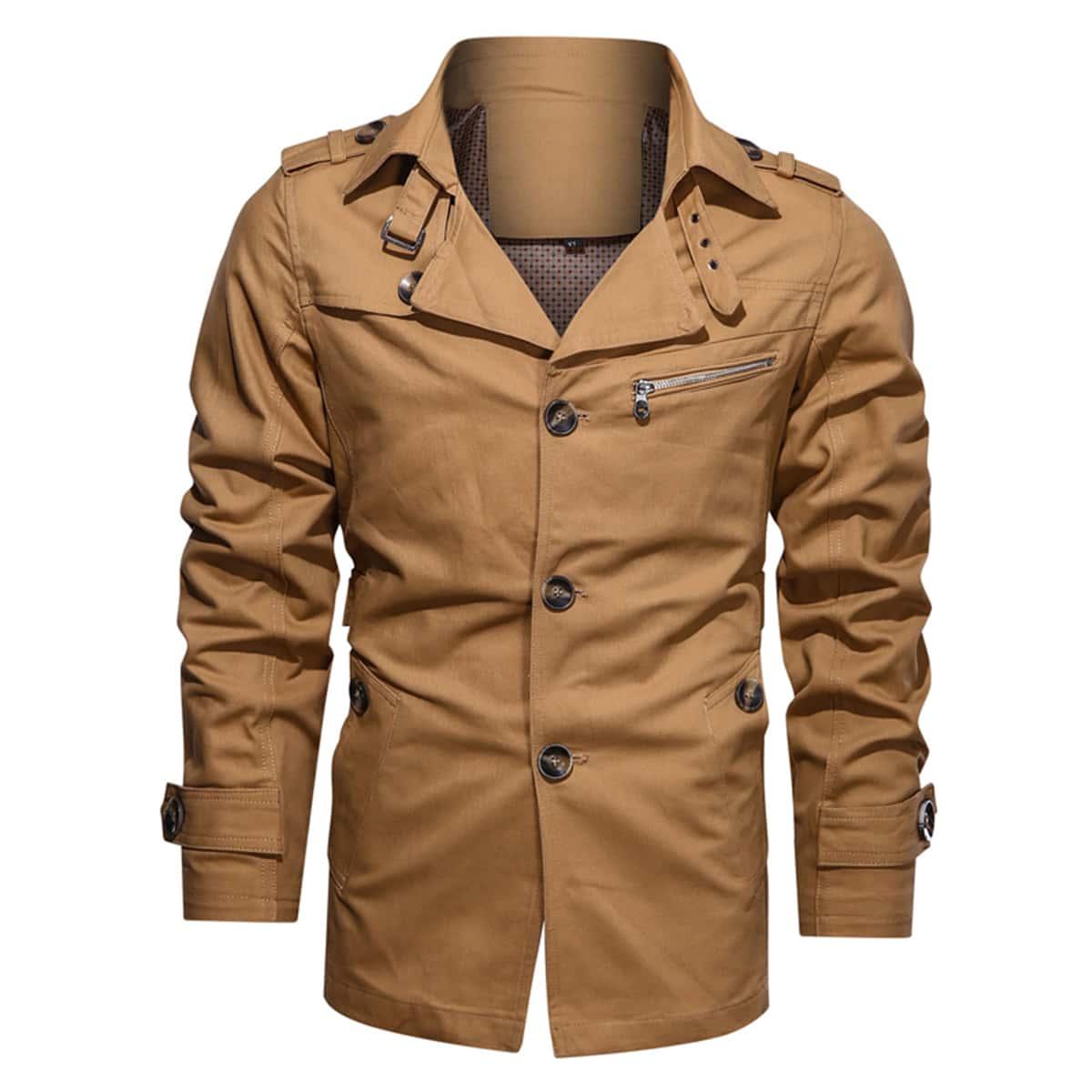 Мужское однобортное пальто с лацканом