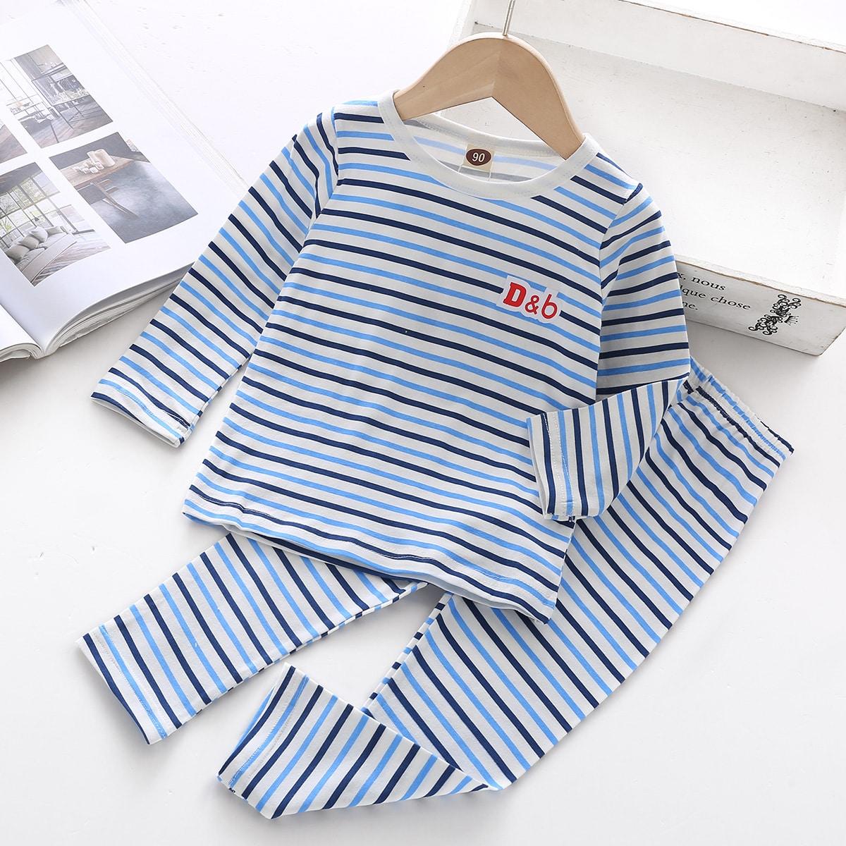 Пижама в полоску с текстовым принтом для мальчиков