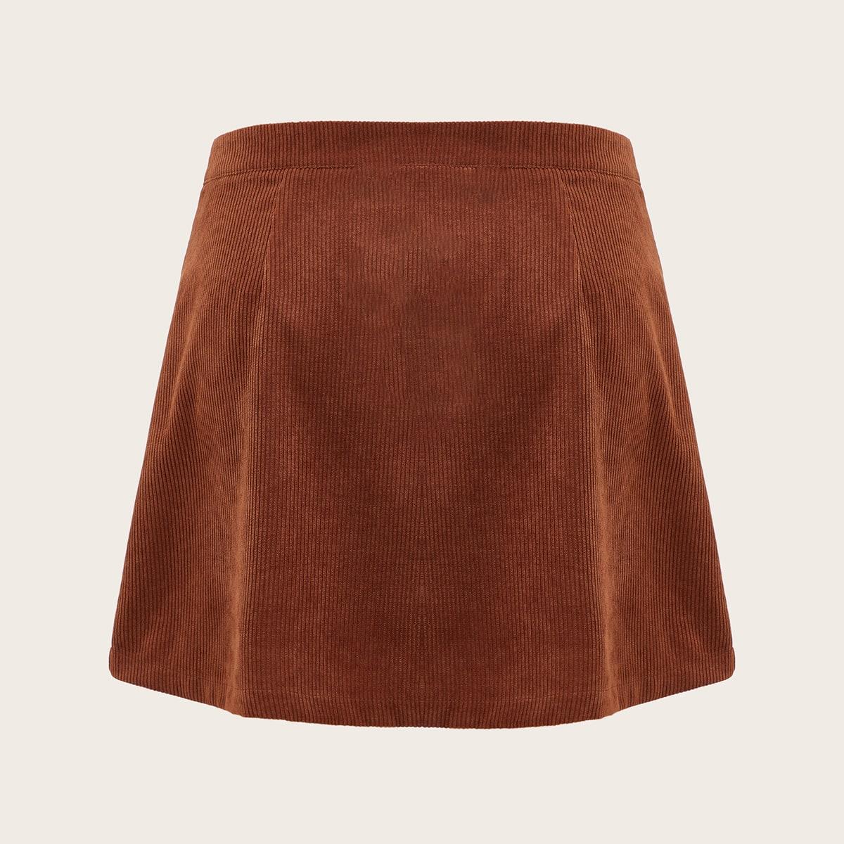 На молнии одноцветный повседневный юбки размер плюс