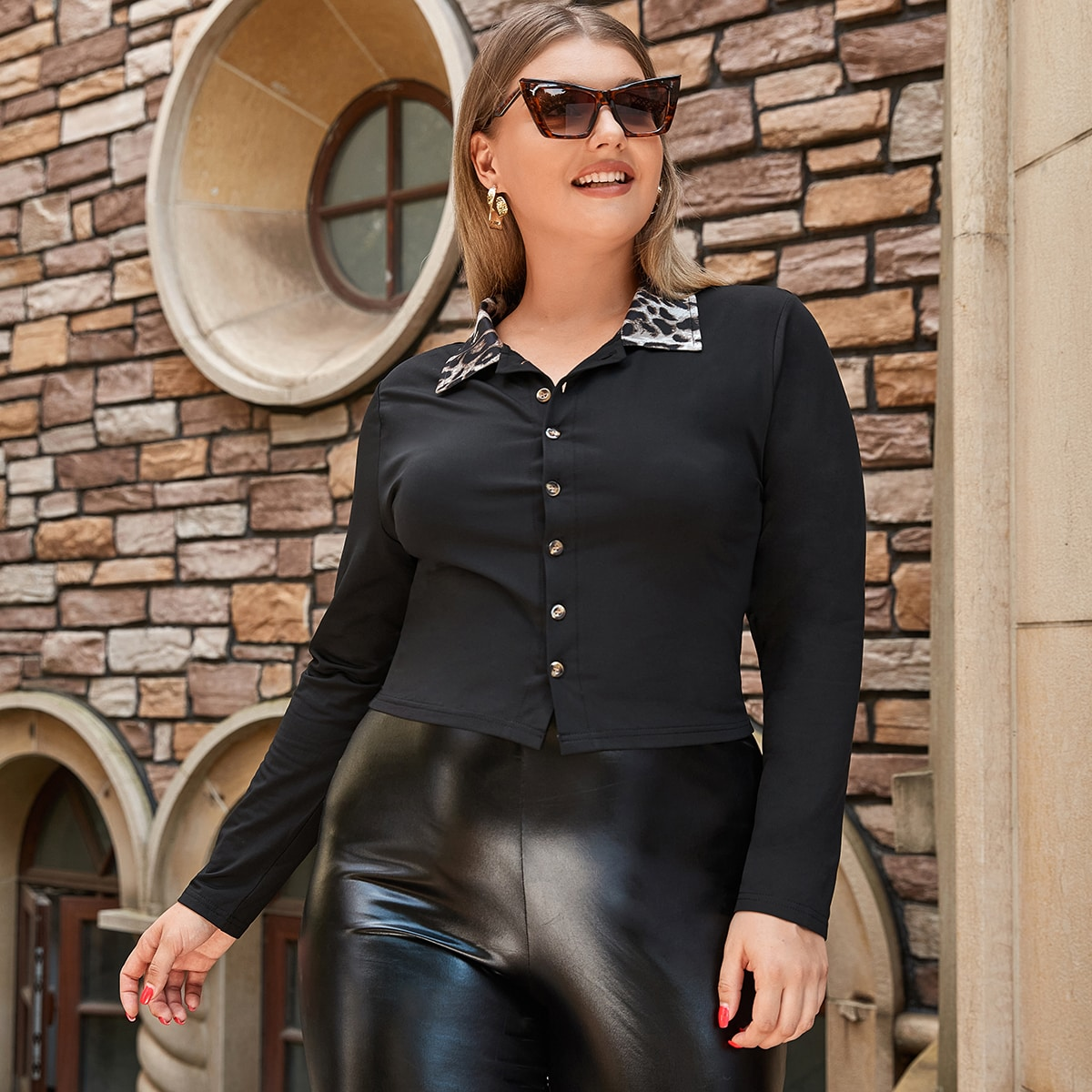 Чёрный контрастный воротник леопард повседневный женские топы размер плюс
