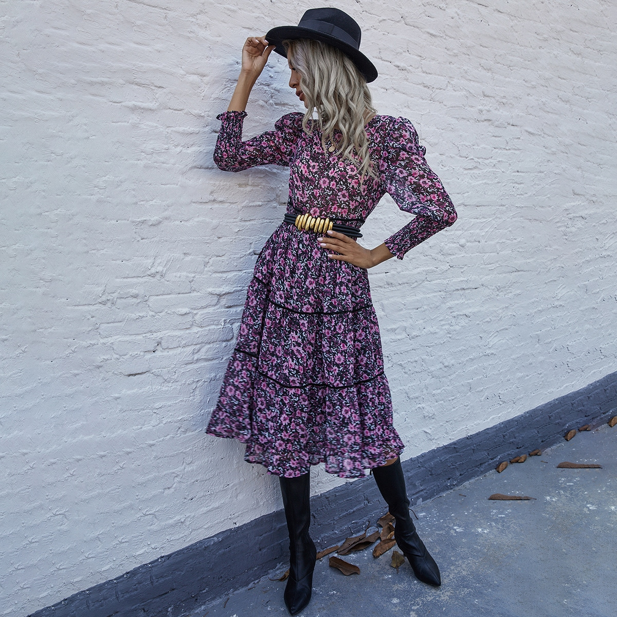 Allover Floral Print Leg-of-mutton Sleeve Dress Without Belt
