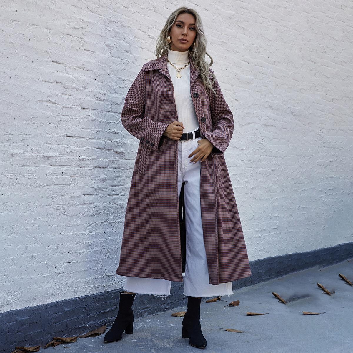 Однобортное длинное пальто в клетку