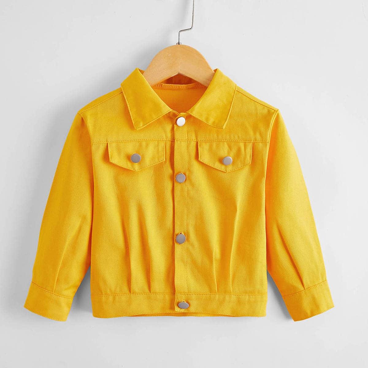 Пуговица одноцветный повседневный куртки для девочек
