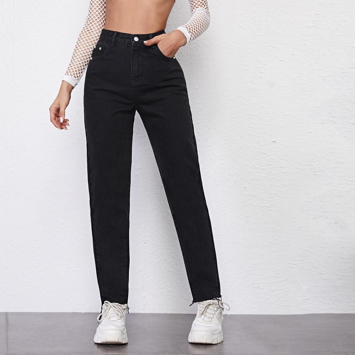 High Waisted Raw Hem Straight Jeans