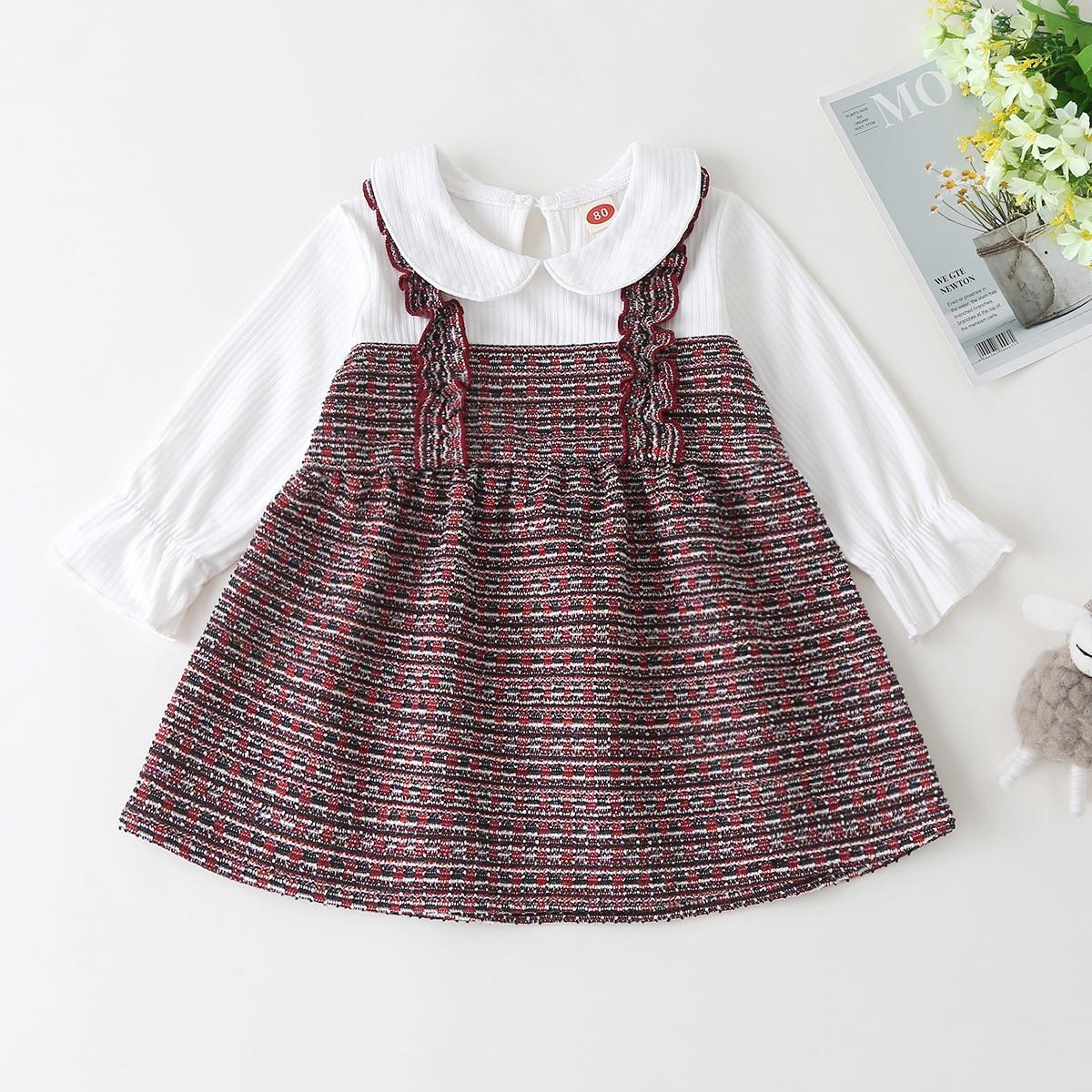 2 в 1 контрастное твидовое платье для девочек