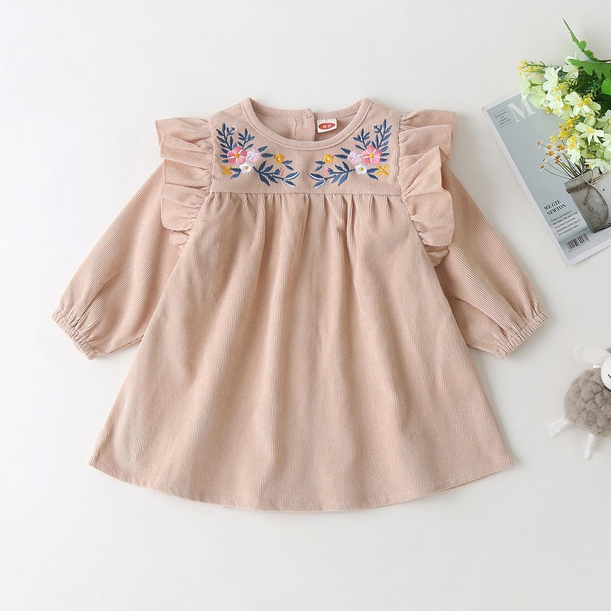 Вельветовое платье с оборкой и вышивкой цветка для девочек