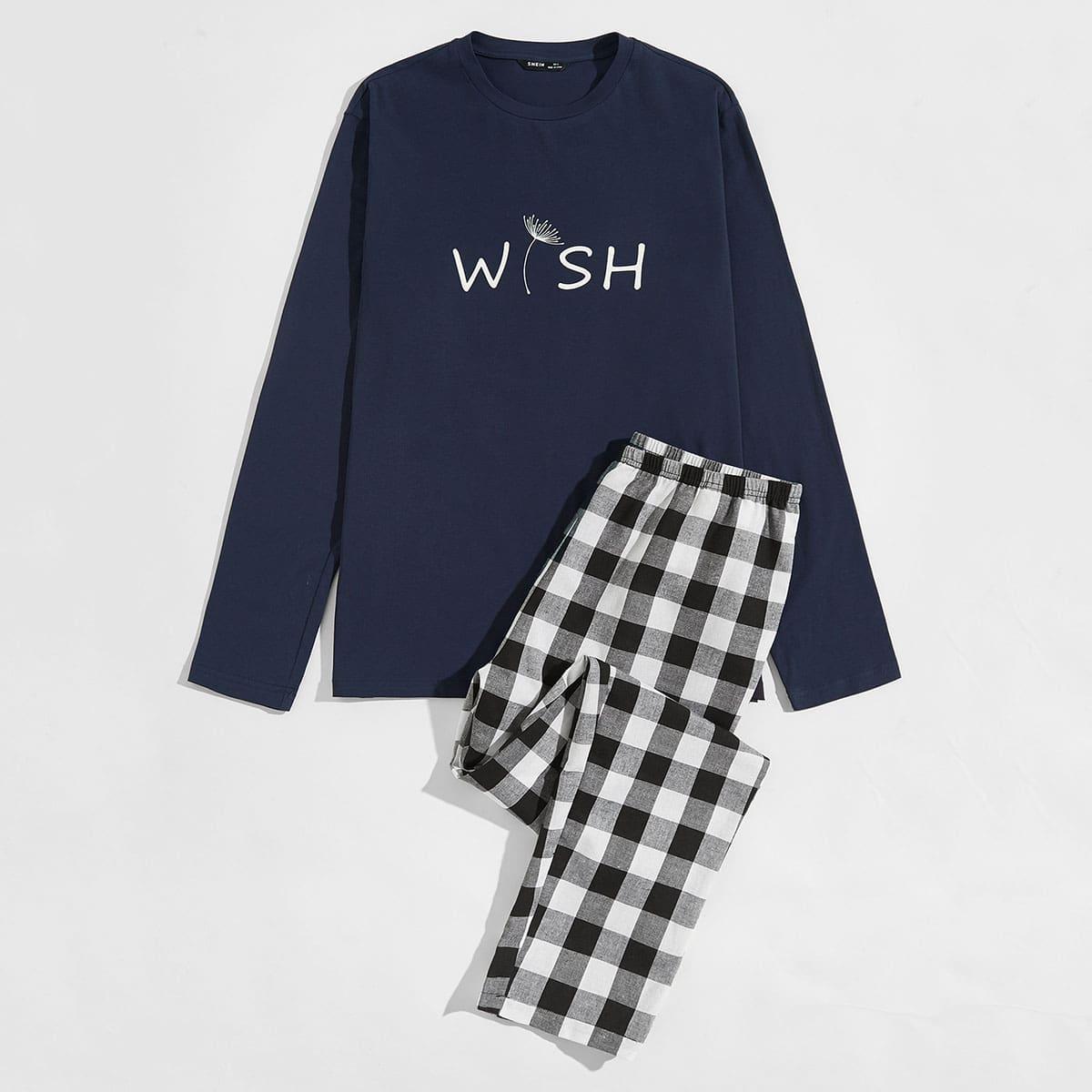 Мужская пижама в клетку с текстовым принтом