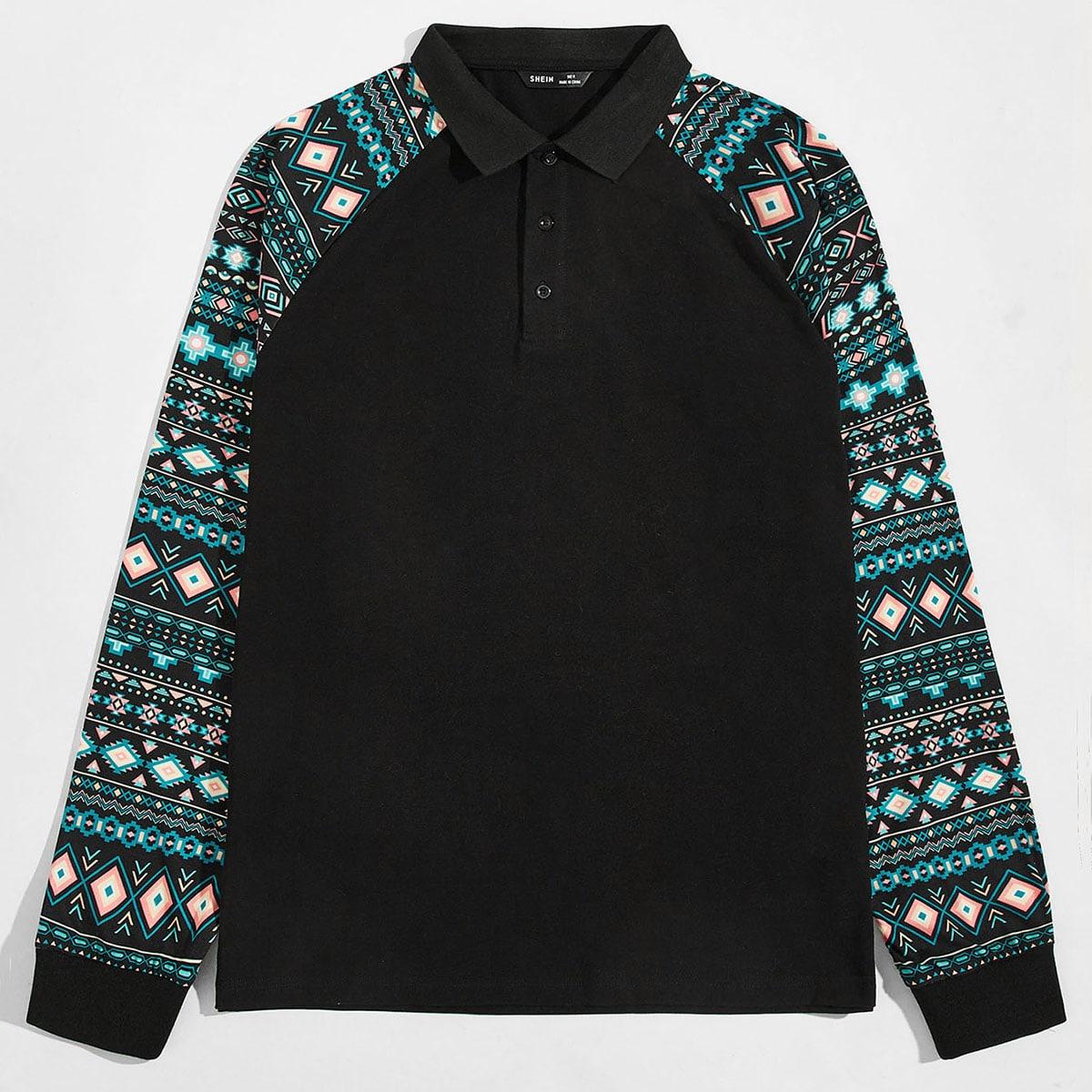 Мужская рубашка-поло с геометрическим принтом
