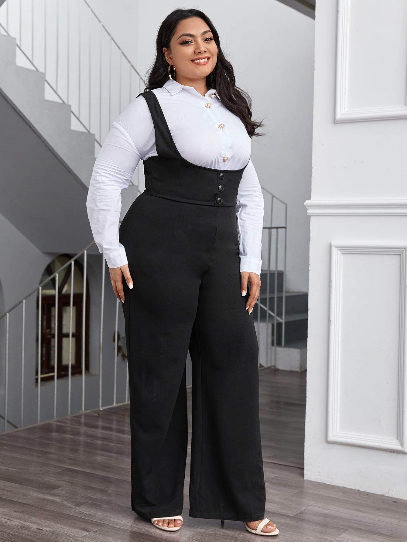 Plus Button Front Wide Leg Solid Suspender Jumpsuit