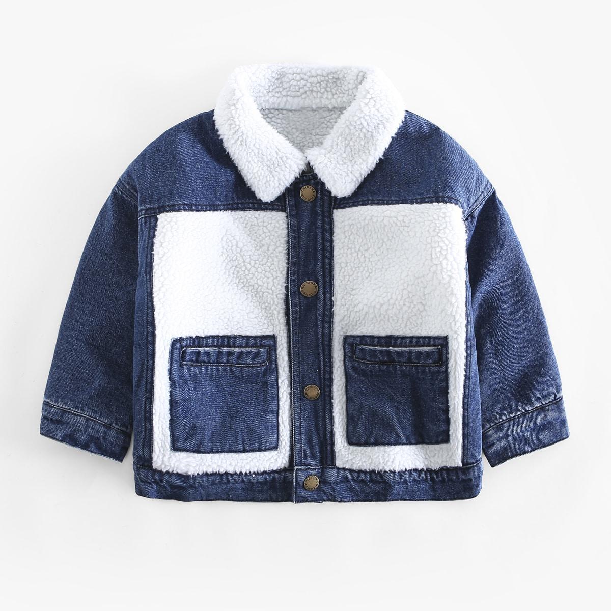 """Контрастная джинсовая куртка с воротником """"борг"""" для мальчиков"""