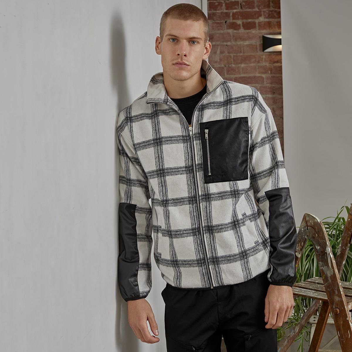 Мужская куртка в клетку на молнии