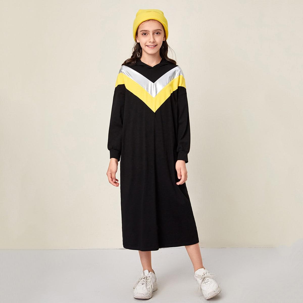 Контрастное платье-свитшот с капюшоном для девочек