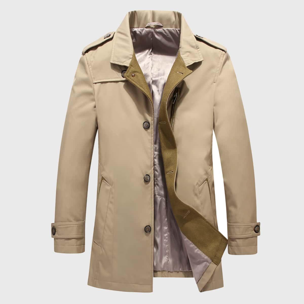 Мужское однобортное пальто тренч с карманом